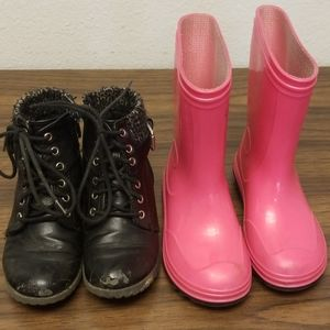 2 pairs of girls boots